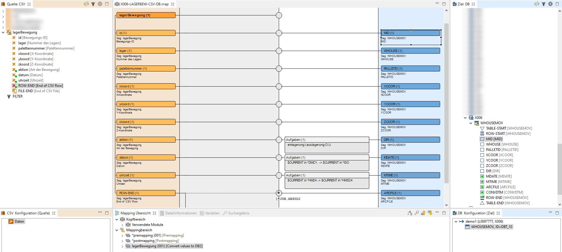 CSV Konvertierung zu DB2 mit i‑effect<sup>®</sup> MapGUI
