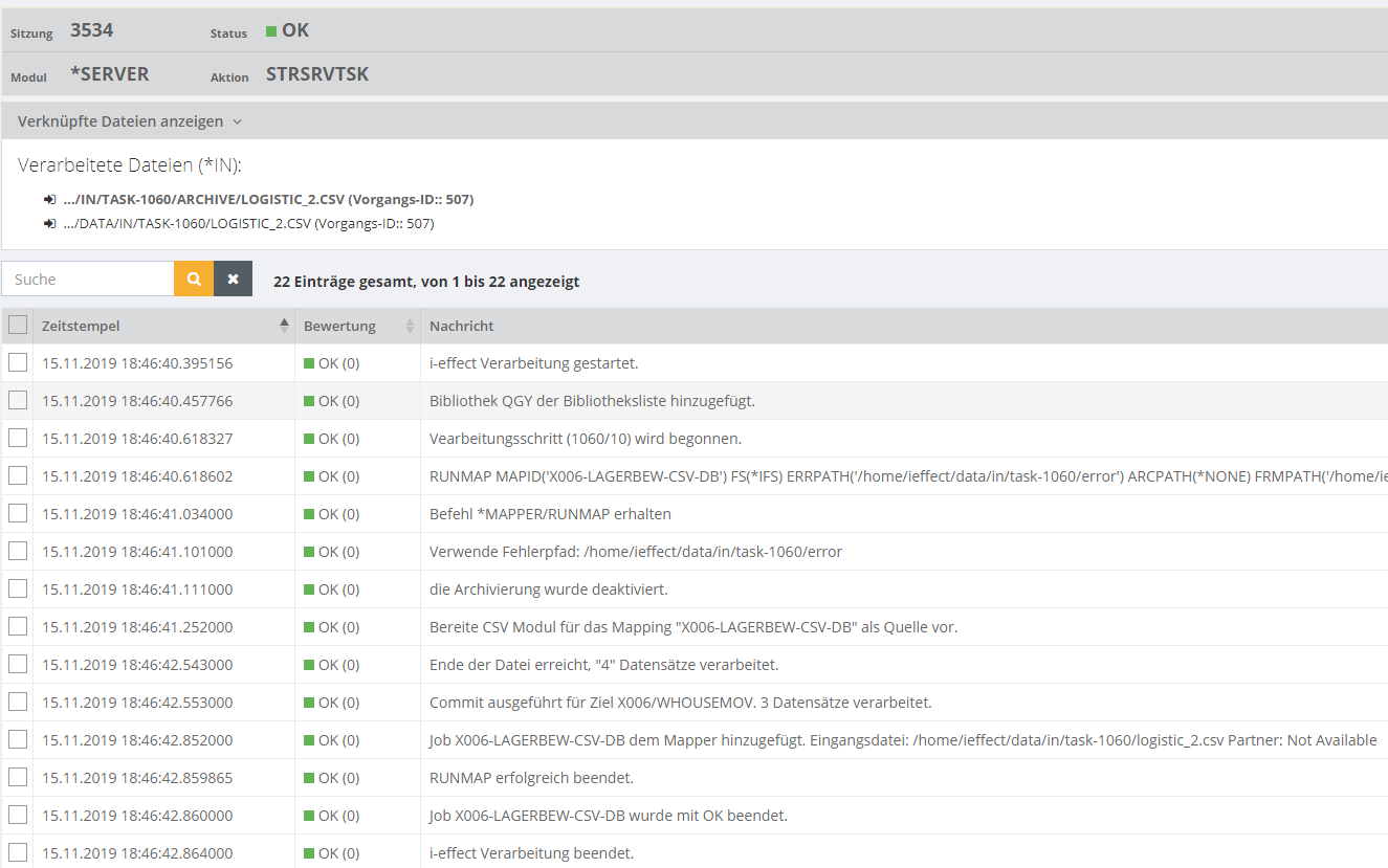 CSV zu DB2 EDI-Mapping Ergebnis in EDI-Software: i‑effect<sup>®</sup> WebControl überprüfen